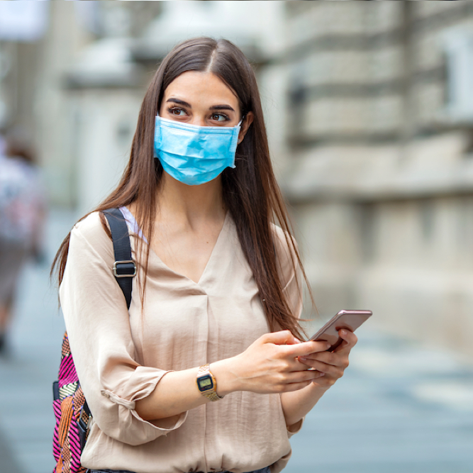 Woman,In,Town,Wearing,Protective,Face,Mask.,Woman,Wearing,Face